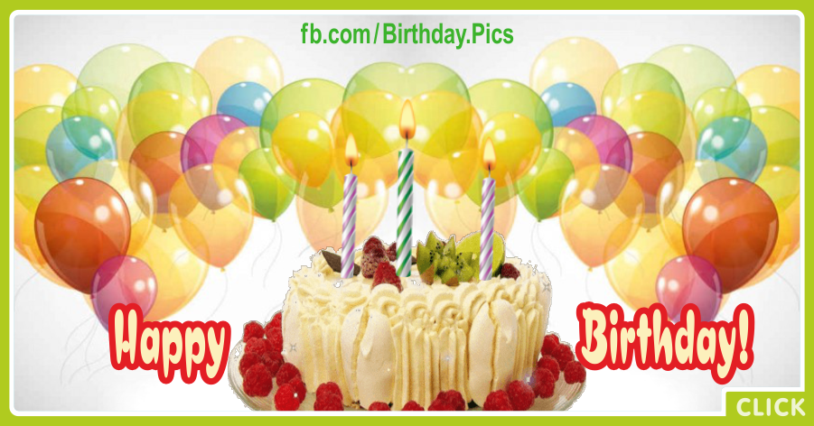 Cream Cake Yellow Balloons Happy Birthday Card for celebrating