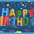 Draw 3D Letters Happy Birthday Card
