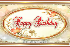 Elegant Gold Frame Happy Birthday Card