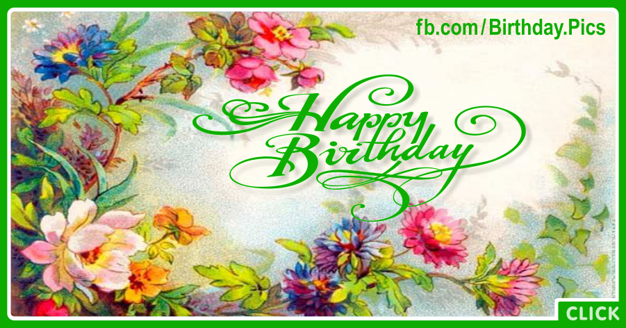 Flowers Painting Green Happy Birthday Card for celebrating