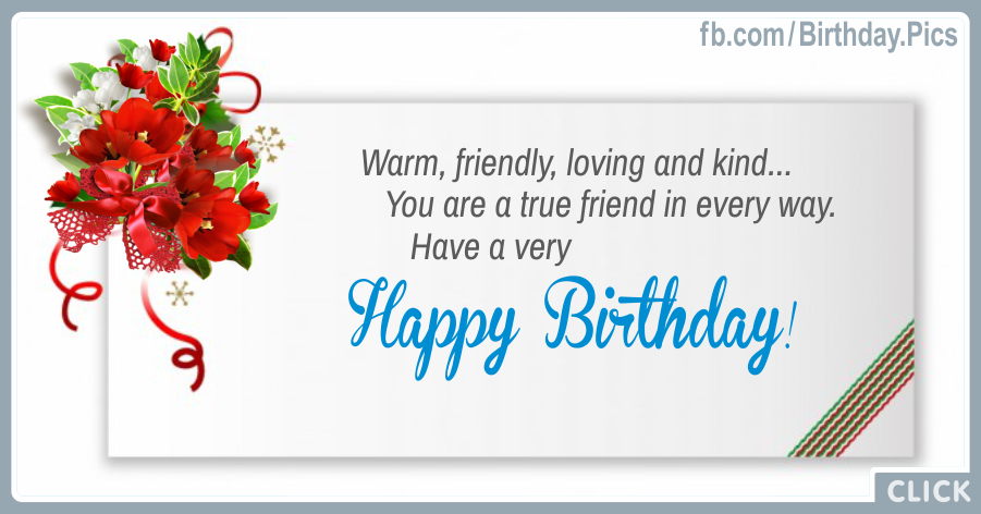 Friendly Loving Kind Happy Birthday Card