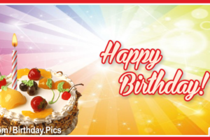 Jeweled Fruit Cake Simple Happy Birthday Card For You