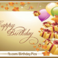 Gold Gift Boxes Balloons Happy Birthday Card