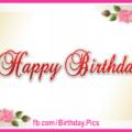 Golden Paper Flowery Happy Birthday Card