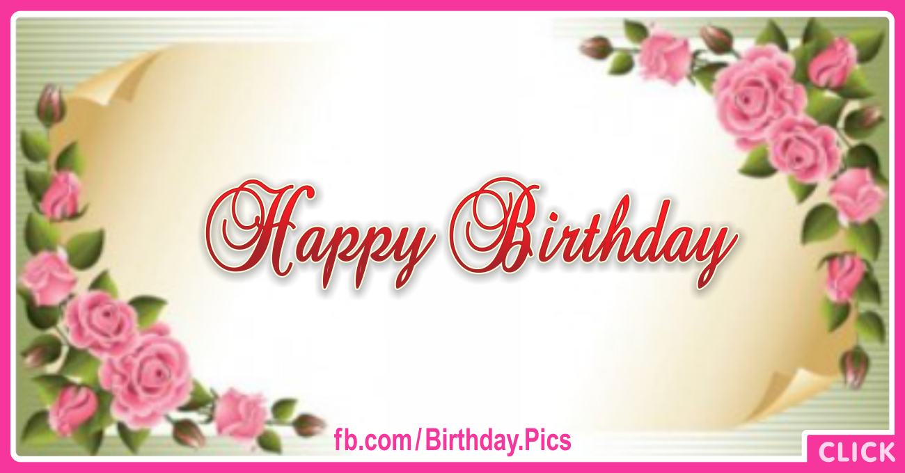 Golden Paper Flowery Happy Birthday Card