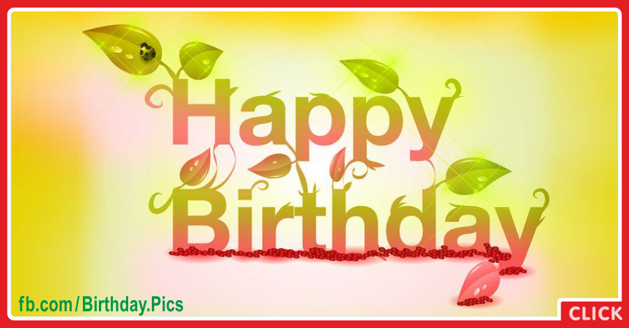 Green Nature Happy Birthday Card for celebrating