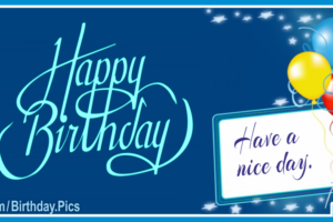 Have A Nice Day Blue Happy Birthday Card For You
