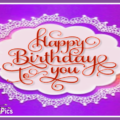Lace Flowers Purple Happy Birthday Card