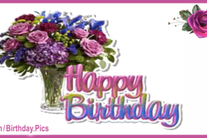 Lilac Flowers Vase Happy Birthday Card