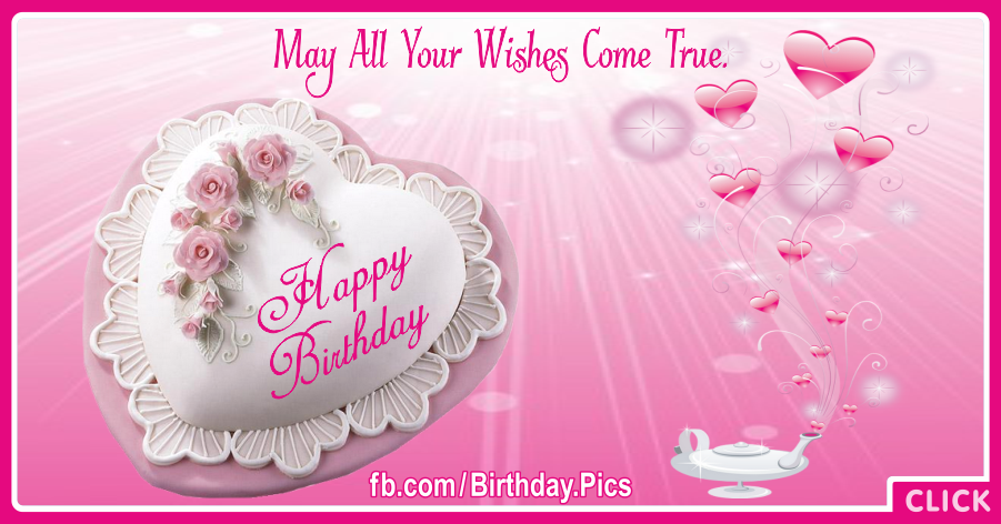 Romantic Happy Birthday Card With Magic Lamp for celebrating