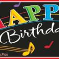 Musical Black Happy Birthday Card