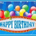 Neon Banner With Balloons Happy Birthday Card