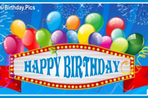 Neon Banner With Balloons Happy Birthday Card To You