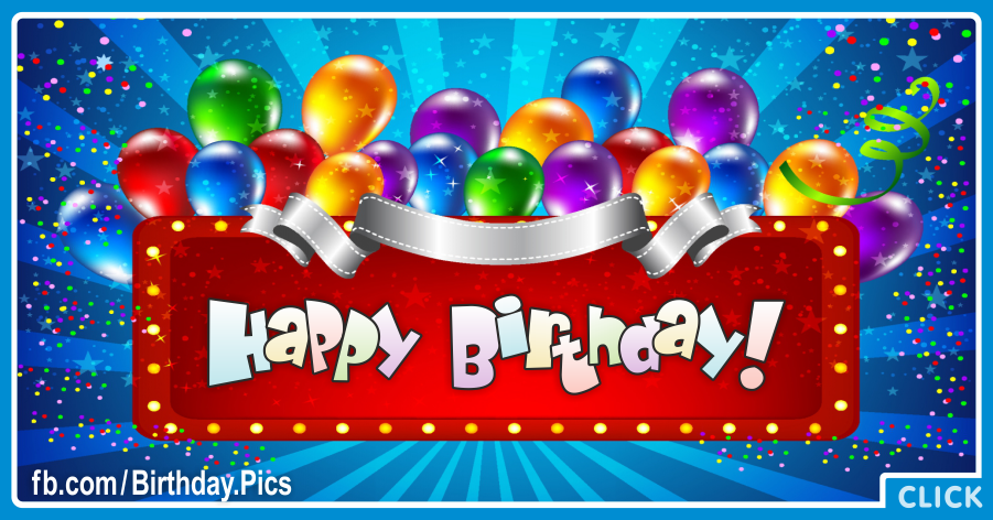 Neon Sign With Balloons Happy Birthday Card