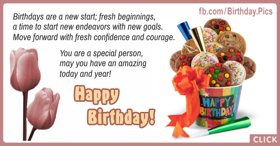 New Start Cookies Happy Birthday Card for celebrating