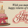 Old Style Cake Calligraphic Happy Birthday Card