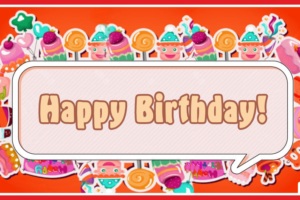Orange Candies Happy Birthday Card with Senior Travel Tours Links