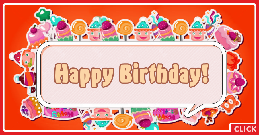 Orange Candies Happy Birthday Card