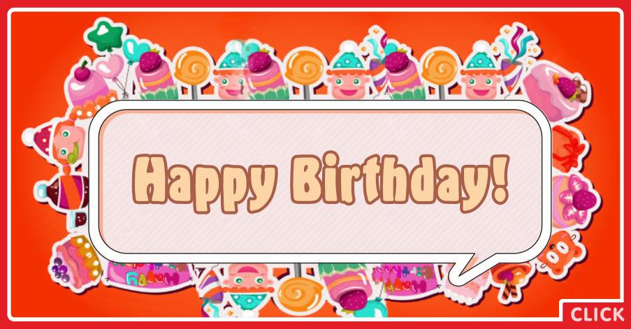 Orange Candies Happy Birthday Card for celebrating