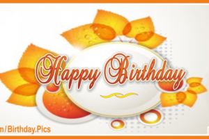 Orange Gold Leaves Happy Birthday Card