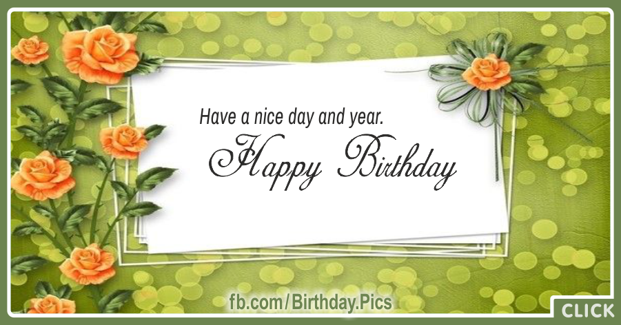 Orange Roses Green Happy Birthday Card