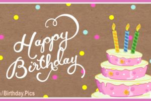 Pastel Pink Cake Confetti Happy Birthday Card with Platinum Gifts Ideas