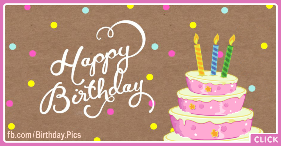 Pastel Pink Cake Confetti Happy Birthday Card