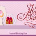 Pink Cake Violet Ribbon Happy Birthday Card