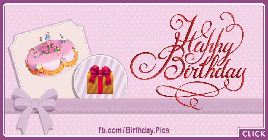 Pink Cake Violet Ribbon Happy Birthday Card