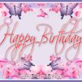 Pink Purple Butterflies Happy Birthday Card