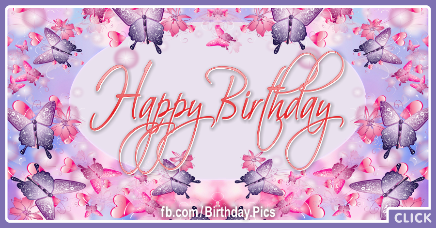Pink Purple Butterflies Happy Birthday Card