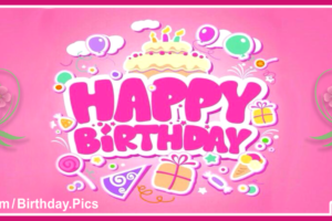 Pinky Pink Text Happy Birthday Card