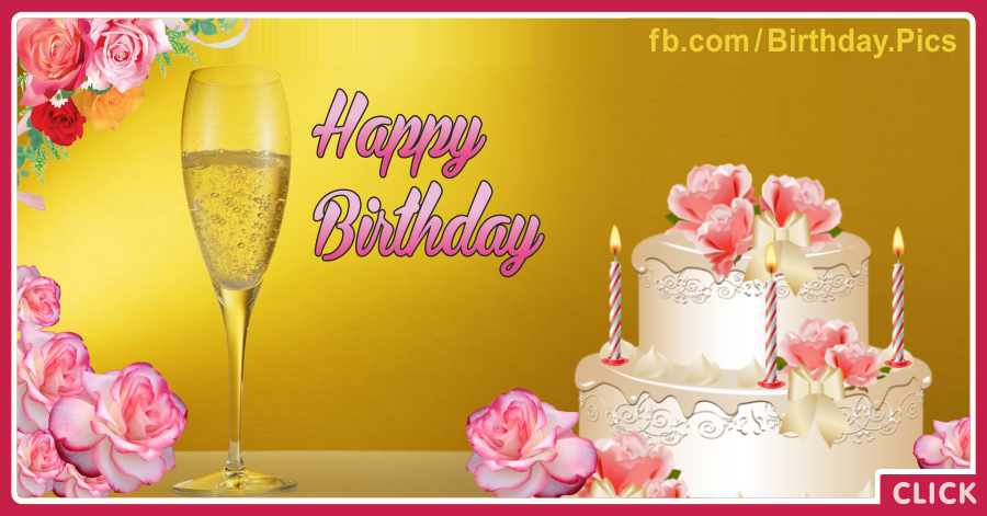 Pinky White Cake Champagne Happy Birthday Card