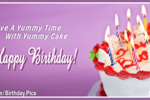 Purple Bg White Cake Happy Birthday Card