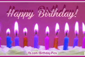 Purple Cake Candles Happy Birthday Card