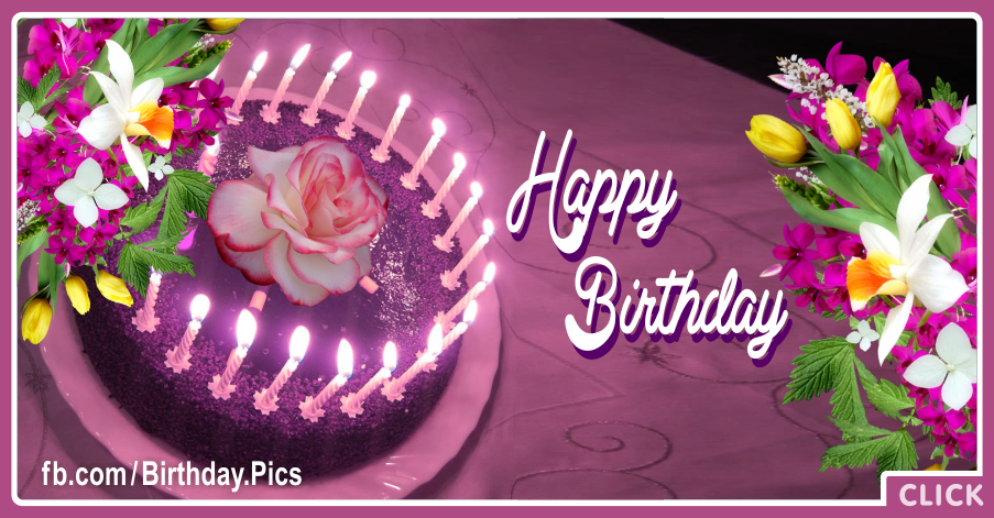 Purple Cake Flowers Happy Birthday Card