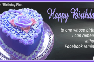 Purple Heart Cake Happy Birthday Card