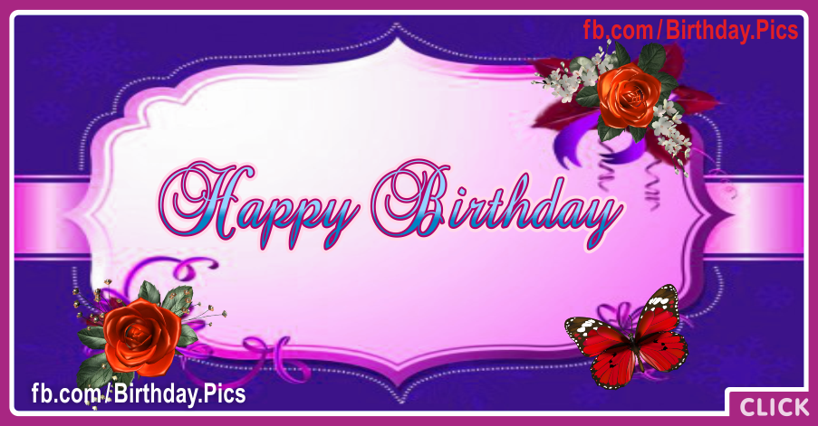 Purple Plate Roses Happy Birthday Card
