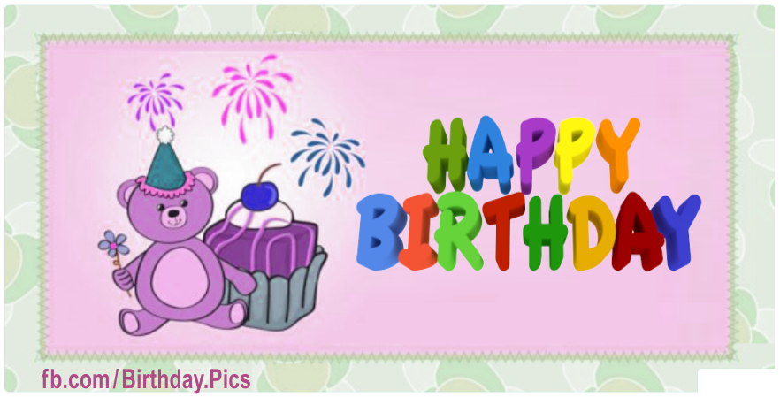 Purple Teddy Bear Happy Birthday Card