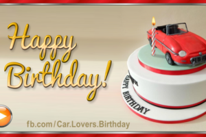 Red Car Cake Gold Happy Birthday Card