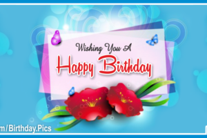 Plain Decorated Blue Happy Birthday Card With Red Flowers For You