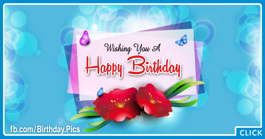 Red Flowers Blue Happy Birthday Card