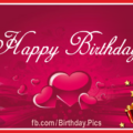Red Gift Boxes Pink Cake Birthday Card