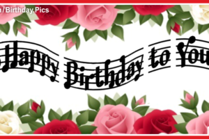 Red Pink Roses Musical Happy Birthday Card