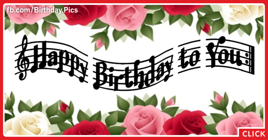 Red Pink Roses Musical Happy Birthday Card To You Happy Birthday