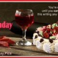 Red Wine Glass Cake Happy Birthday Card