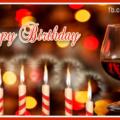 Red Wine Glass Happy Birthday Card