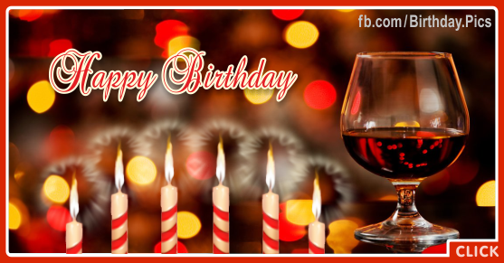 Red Wine Glass Happy Birthday Card