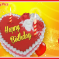 Red Yellow Balloons Heart Cake Birthday Card