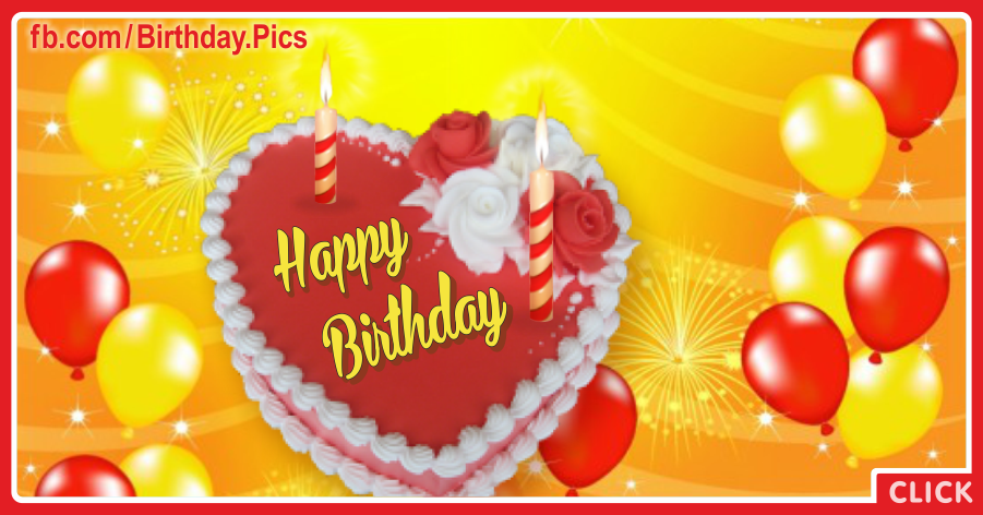 Red Yellow Balloons Heart Cake Birthday Card
